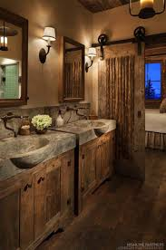 Rustic Bathroom Decor With Concrete Sinks And Barn Door