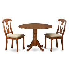 East West Furniture Dublin Round Drop Leaf Dining Table Napoleon Chairs With