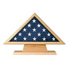 Oak 5 X 95 Flag Memorial Case On Pedestal With Engraved Plate