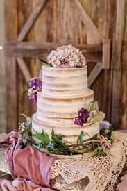 Barley Naked Wedding Cake Purple Flowers Rustic Boho Shabby Chic