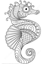Click To See Printable Version Of Sea Horse Zentangle Coloring Page