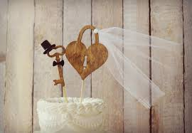 Weddings Cake Toppers Rustic Wood Heart Mr And Mrs Key To My Sign Skeleton Vintage Inspired Bride Groom Unique Lock Decor