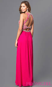 beaded bodice long chiffon prom dress promgirl