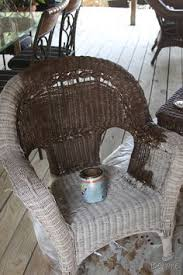 Painted wicker chair in family room Our House