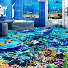 benutzerdefinierte größe 3d fototapete unterwasserwelt bodenbelag pvc badezimmer 3d raum boden dekoration wandbild vinyl tapete wohnkultur 150 105