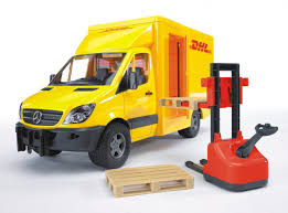 Amazon.com: Bruder MB Sprinter DHL Truck With Hand Pallet Jack: Toys ...