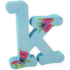 Farmhouse Floral Light Blue Floral Letter K At Home