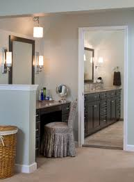 Master Bathroom Vanity With Makeup Area by Transitional Bathrooms Designs U0026 Remodeling Htrenovations