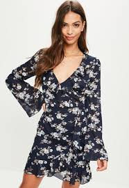 tall navy floral print dress missguided