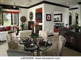 schwarz rot weiß eßecke dn wohnzimmer stock fotografie