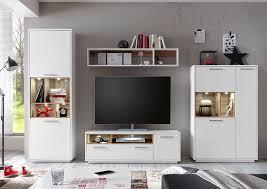 wohnwand anbwauwand wohnzimmer set wohnkombination weiß wildeiche
