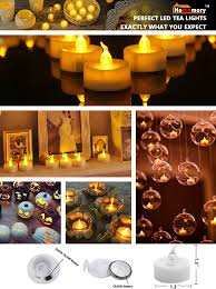 Outdoor Halloween Decorations Amazon by Amazon Com Homemory Pack Of 24 Flameless Led Tea Light Amber