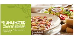 Olive Garden Coupon $5 Unlimited Soup Salad & Breadsticks