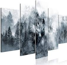 decomonkey bilder wald wolf 200x100 cm 5 teilig leinwandbilder bild auf leinwand wandbild kunstdruck wanddeko wand wohnzimmer wanddekoration deko