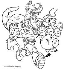 In This Awesome Coloring Page Buzz Lightyear Is Accompanied By His Friends Rex Hamm And Slinky Dog