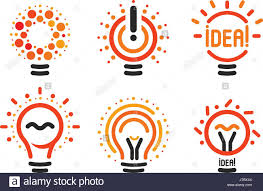 stylized set of vector lightbulbs with line dots beam new idea