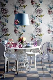 Pastel Floral Wallpaper Dining Room Paper
