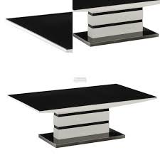 Black Gloss Coffee Table With Drawers Black And White Dining Table