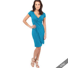 womens basics solid knee length midi v neck wrap summer jersey