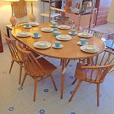 Captain Chairs For Dining Room Table by Russel Wright 6 Seat Dining Set For Conant Ball Gorgeous Maple