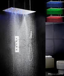 großhandel badezimmer bad dusche wasserhahn set 800x400 mm zerstäubung swash und niederschlag led 3 farbtemperatur sensitive duschkopf 008 80x40qwl f