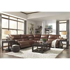 Ashley Larkinhurst Reclining Sofa by Ashley Furniture Kalel Power Recliner Sectional In Saddle Space