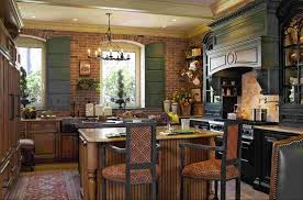 Astaunding Country Kitchen Design With Wooden Island And Rustic Stool As Well Cage Chandelier Also Exposed Brick Wall Vintage Decorating Ideas