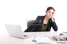 Asian Woman Feeling Bored When Work At Office Working Concept With