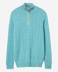 Cable Half Zip Cashmere Sweater Aqua Green Fumo Grey