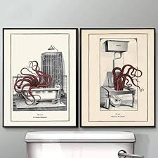 cnhnwj vintage octopus print lustige toilette wand kunst