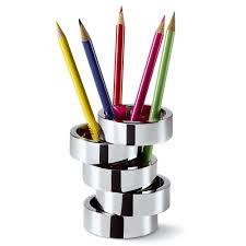 accessoires de bureau design porte stylos design rotondo en nickel poli accessoires bureau design