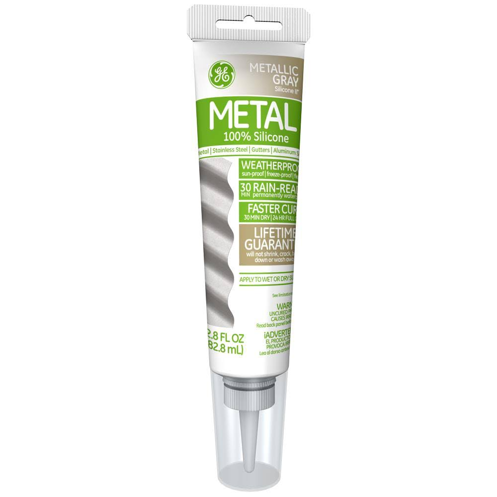 GE Silicone II Metal Glue and Caulk - 2.8oz, Metallic Gray