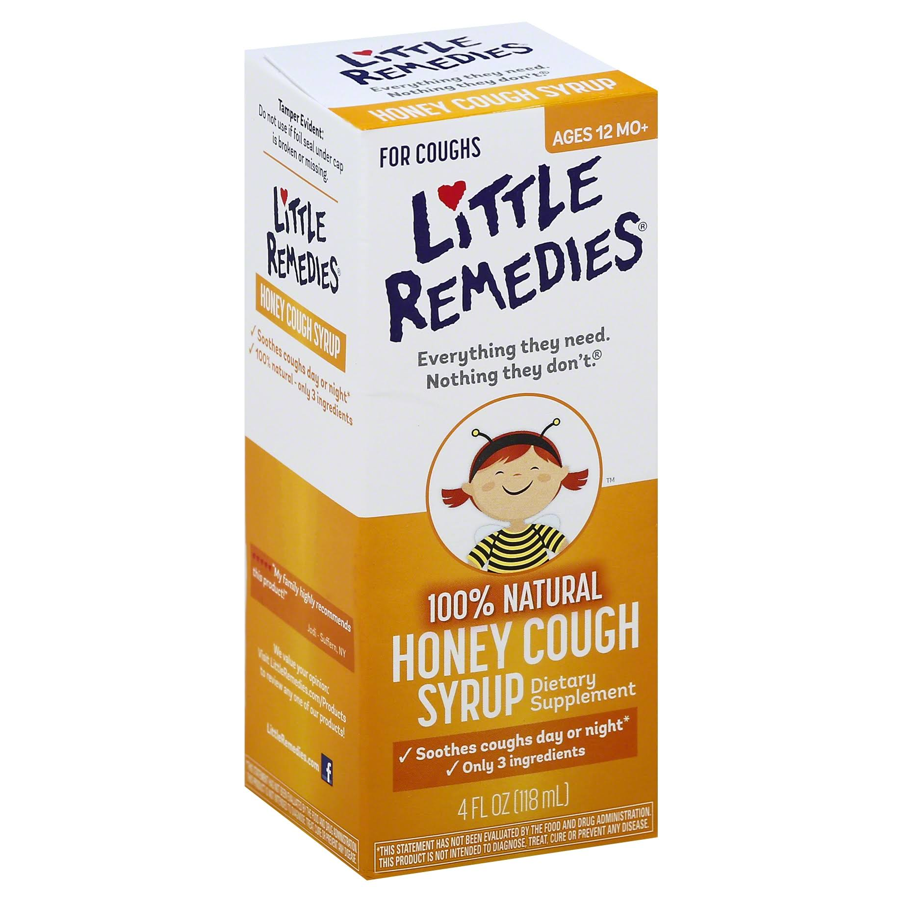 Little Remedies 100% Natural Honey Cough Syrup - 118ml