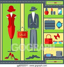 Shop Window Mens Womens Clothing Suits Dresses Watches Handbags