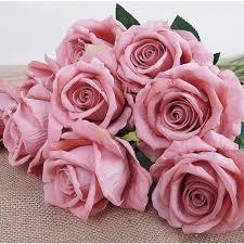 100 Flannel Flower Glass Details About 1 PC Artificial Fake Rose Bridal Bouquet Wedding Party Home Decor