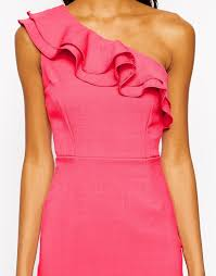 tempest ruffle detail one shoulder dress pink in pink lyst