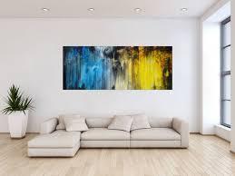 abstraktes acrylbild modern blau gelb schwarz weiß mischtechnik zeitgenössisch