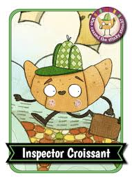 Inspector Croissant Collectors Card With Eyes Mouth Arms And Legs Walking