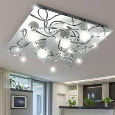 decken le leuchte chrom glas wohnzimmer beleuchtung 16xg4 halogen eglo laranja 13268