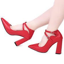 red double buckle design ladies thick high heel shoes