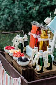 Beautiful Mimosa Station Set Up On A Darling Vintage Serving Cart With Fresh Berries Click