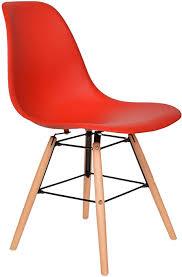 ts ideen 1 x design klassiker stuhl retro 50er jahre barstuhl küchenstuhl esszimmer wohnzimmer sitz in rot mit holz
