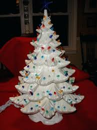 Ceramic Christmas Tree With Lights Lighted
