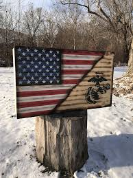 Patriotic Rustic American Flag US Marines Wood