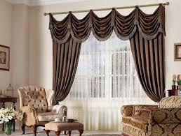 Modern Valances For Living Room by Elegant Brown Satin Window Curtains With Modern Valance Of