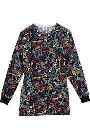 Ceil Blue Print Scrub Jackets by Fundamentals Scrubs Allheart Com
