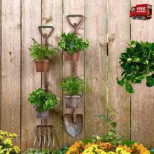 Country Garden Rustic Planters Metal Tool Decor Shovel Pitchfork Porch
