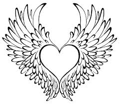 Heart And Rose Coloring Pages Wings With Page