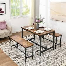 vasagle esstisch küchentisch 120 x 75 x 75 cm esszimmertisch für 4 personen kaffeetisch stahlgestell einfacher aufbau industrie design vintage