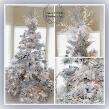 Flocked Christmas Trees Decorated by Christmas Tree Ideas Silver On Decor With Blue And Silver